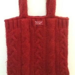 Life is Good Red Knit Bag